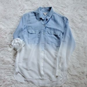 Gap Ombre Button Down Sheer Blouse/ Small